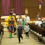 After the Children's Sermon, kids head for Worship Hour Ministries